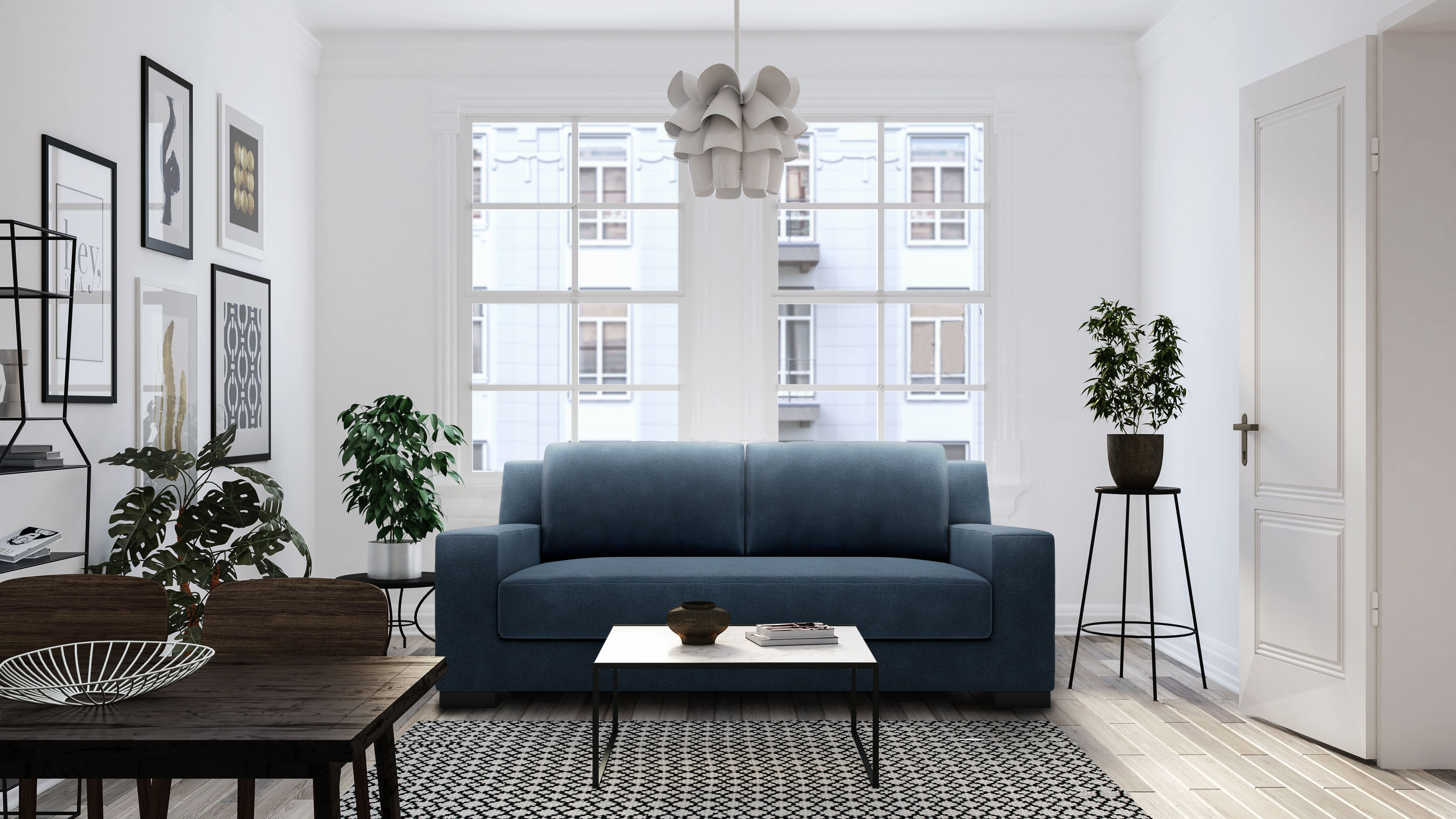 Our Valentino Apartment Sofa In Deep Water Blue A Modern Sofa For