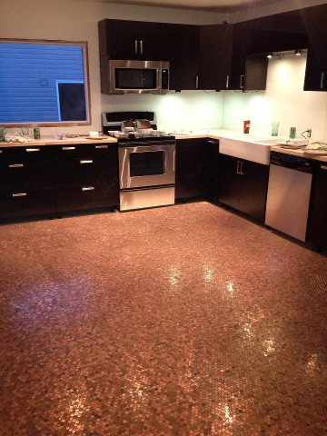 Penny Floor Finished Pennies Kitchen Floors And Kitchens