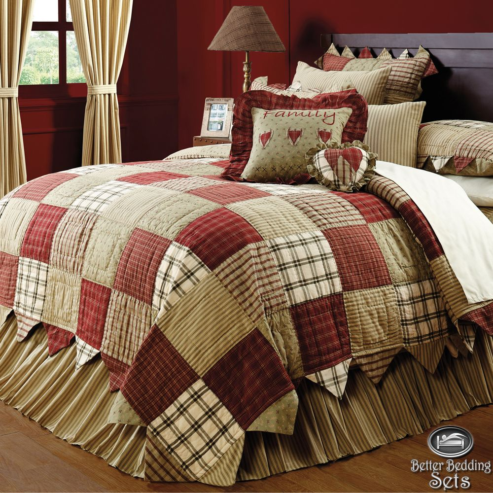 Country red green patchwork twin queen cal king quilt for Suhagrat bed decoration design