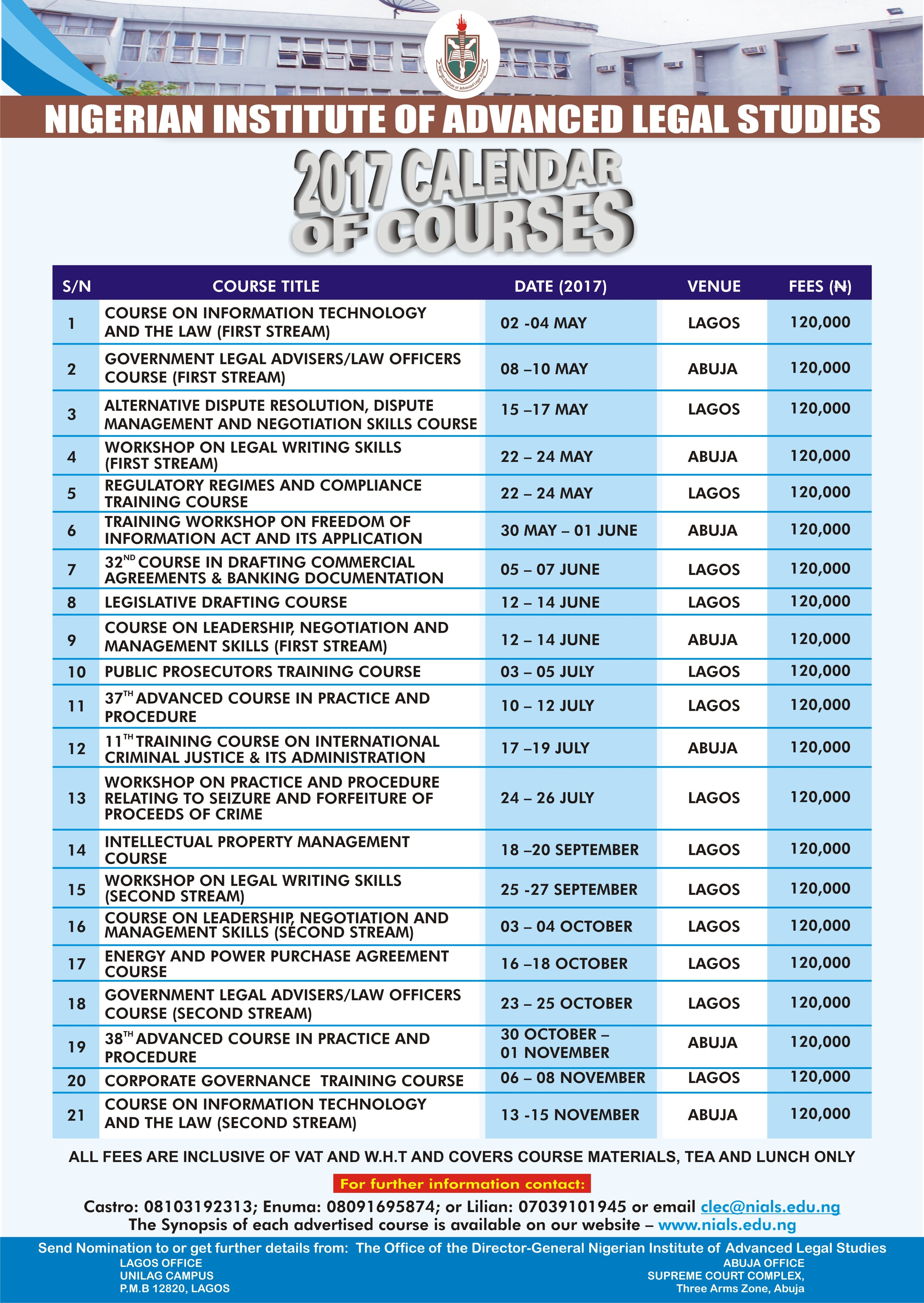 The Nials Calendar Of Courses Is Now Out Click Here