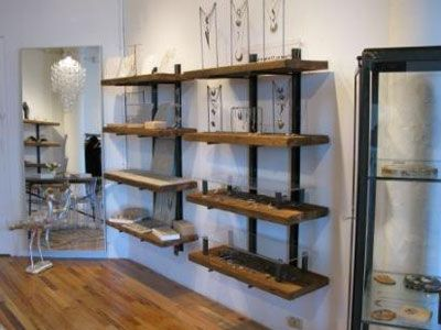 Currently in love with these reclaimed wood shelves.