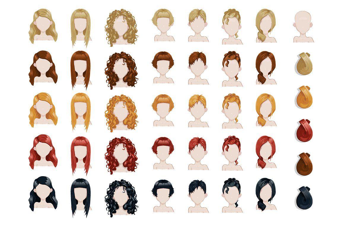 Female trendy hairstyle avatars set  Hairstyle names, Trendy