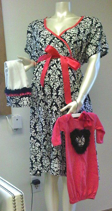 Maternity Hospital GownNew Mommy GIFT SET Make any by PeaPieDoodle, $110.00
