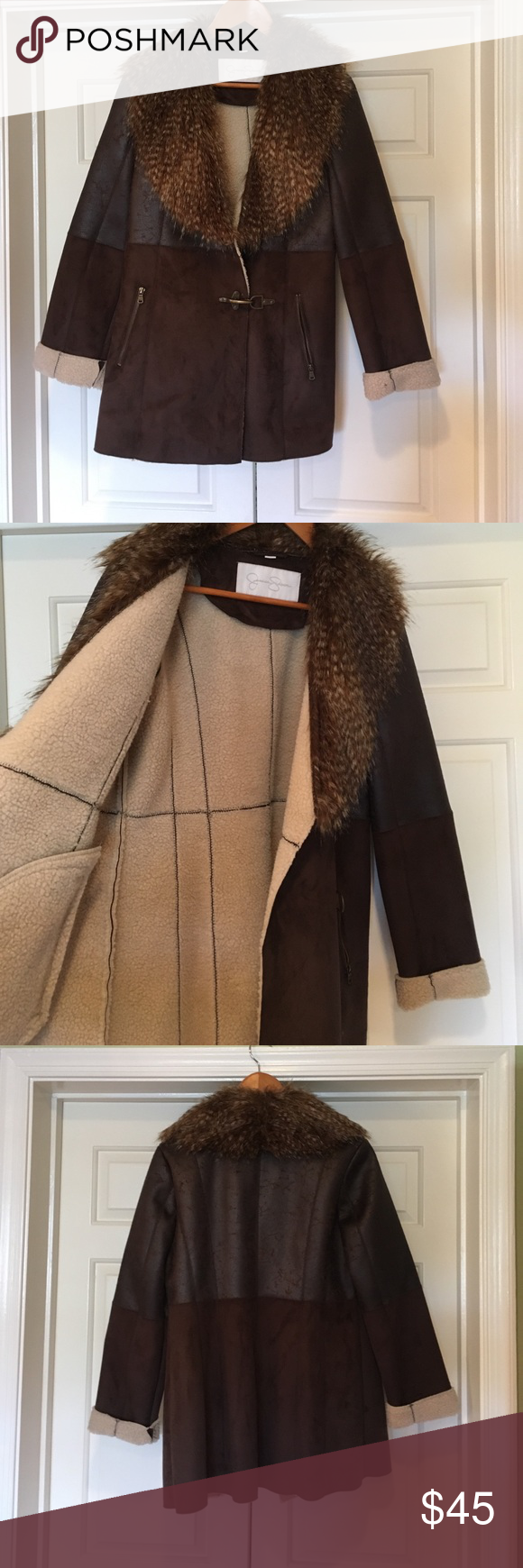 45000a7d2554 Jessica Simpson Women's Coat Faux shearling coat with faux fur collar.  Brown suede. Brass toggle close. Hardly worn. Jessica Simpson Jackets &  Coats