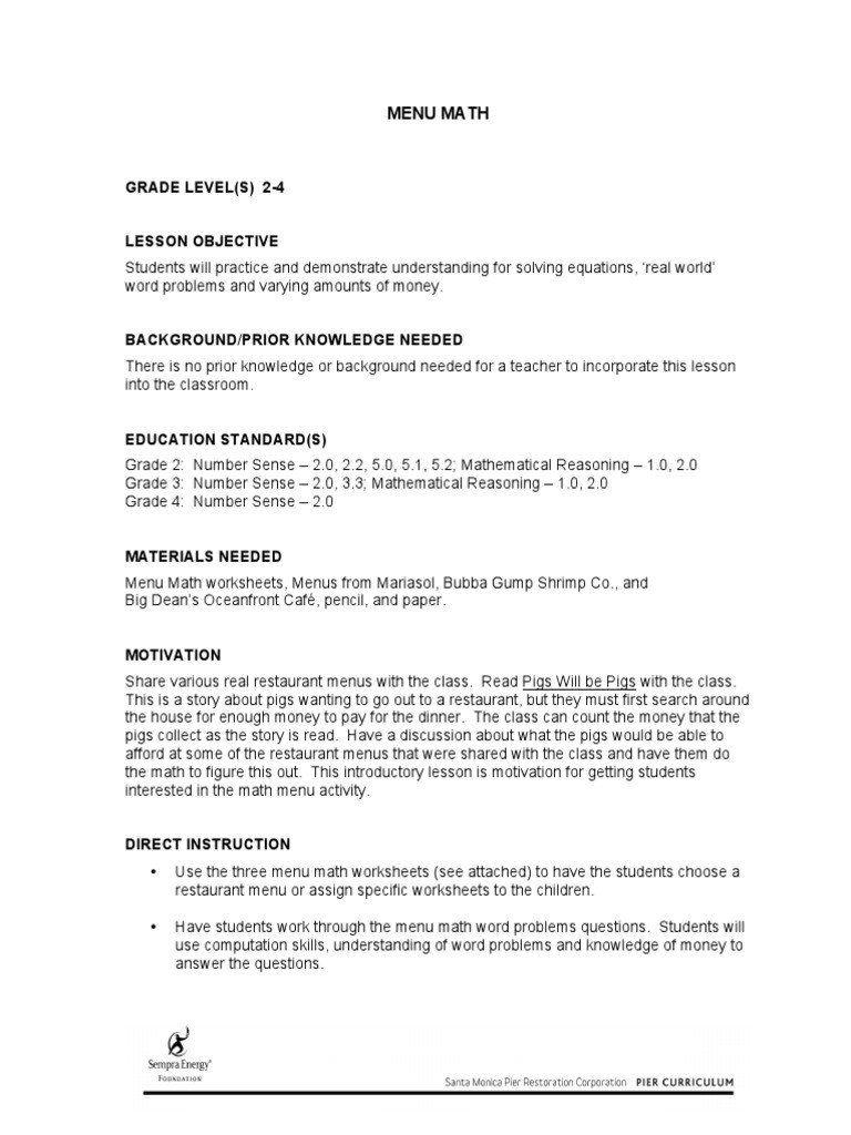 Restaurant Math Worksheets Math Menu Menu Free Printable Math Worksheets Math Worksheets Kids Math Worksheets [ 1024 x 768 Pixel ]