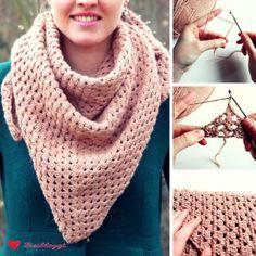 Anleitung: Einfaches Dreiecks-Tuch mit Stäbchen häkeln #crochetmandalapattern