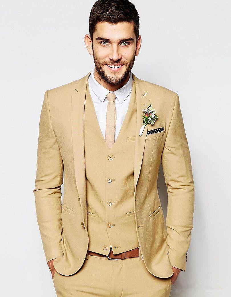 f58c73c028 Click to Buy << 2017 Latest Coat Pant Design Champagne Custom Made Wedding  Suit for Men Groom Suits Tailor Slim Fit Tuxedo 3 Piece Vestido F #Affiliate