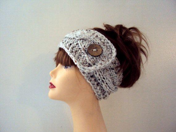 Knit Button Headband Winter Headband Earwarmer Chunky Yoga Headband Fitness Headband Running Headban...