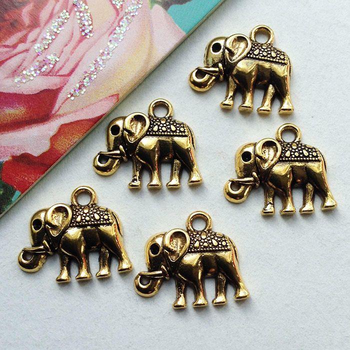 Goldtone Indian Elephant Charms
