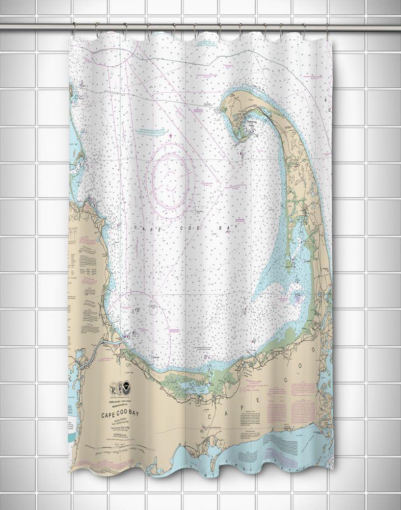MA: Cape Cod, MA Nautical Chart Shower Curtain