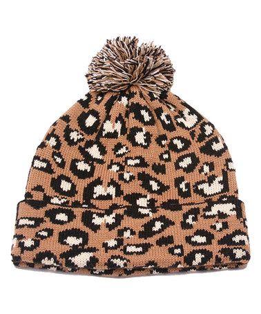 This Camel Leopard Pom-Pom Beanie is perfect! #zulilyfinds