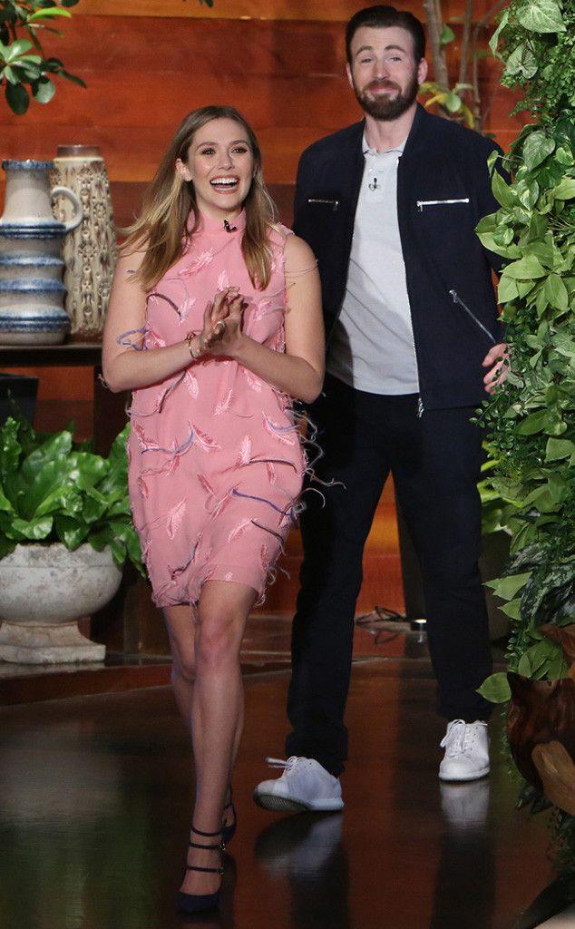 Elizabeth Olsen The Ellen Degeneres Show Pucci Chris Evans Elizabeth Olsen Chris Evans Shirtless