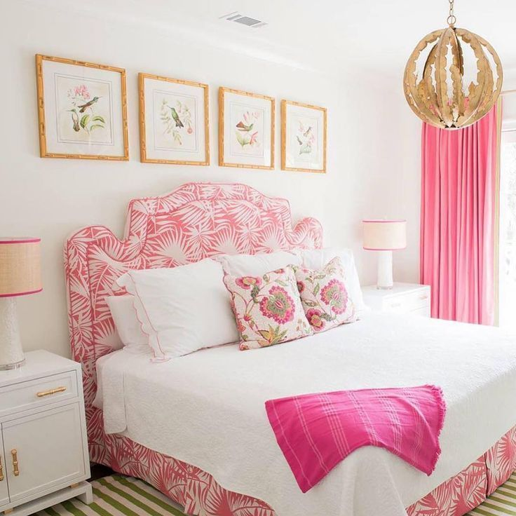 pink and white chinoiserie bedroom girls bedroom design