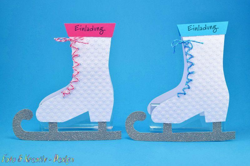Einladungskarten   Schlittschuh Einladung Eislaufen 2 Stk.   Ein  Designerstück Von Foto Und Kreativ Design Bei DaWanda
