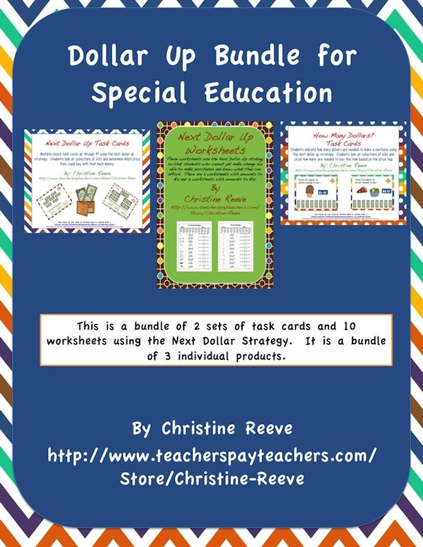 Next Dollar Money Skills Bundle for Special Education Task Cards – Dollar Up Worksheets