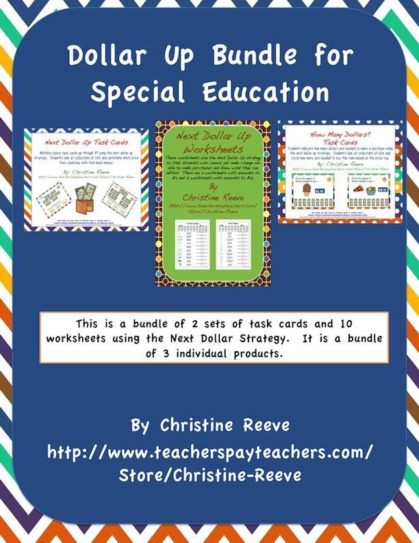 Next Dollar Money Skills Bundle for Special Education Task Cards – Dollar Up Worksheets