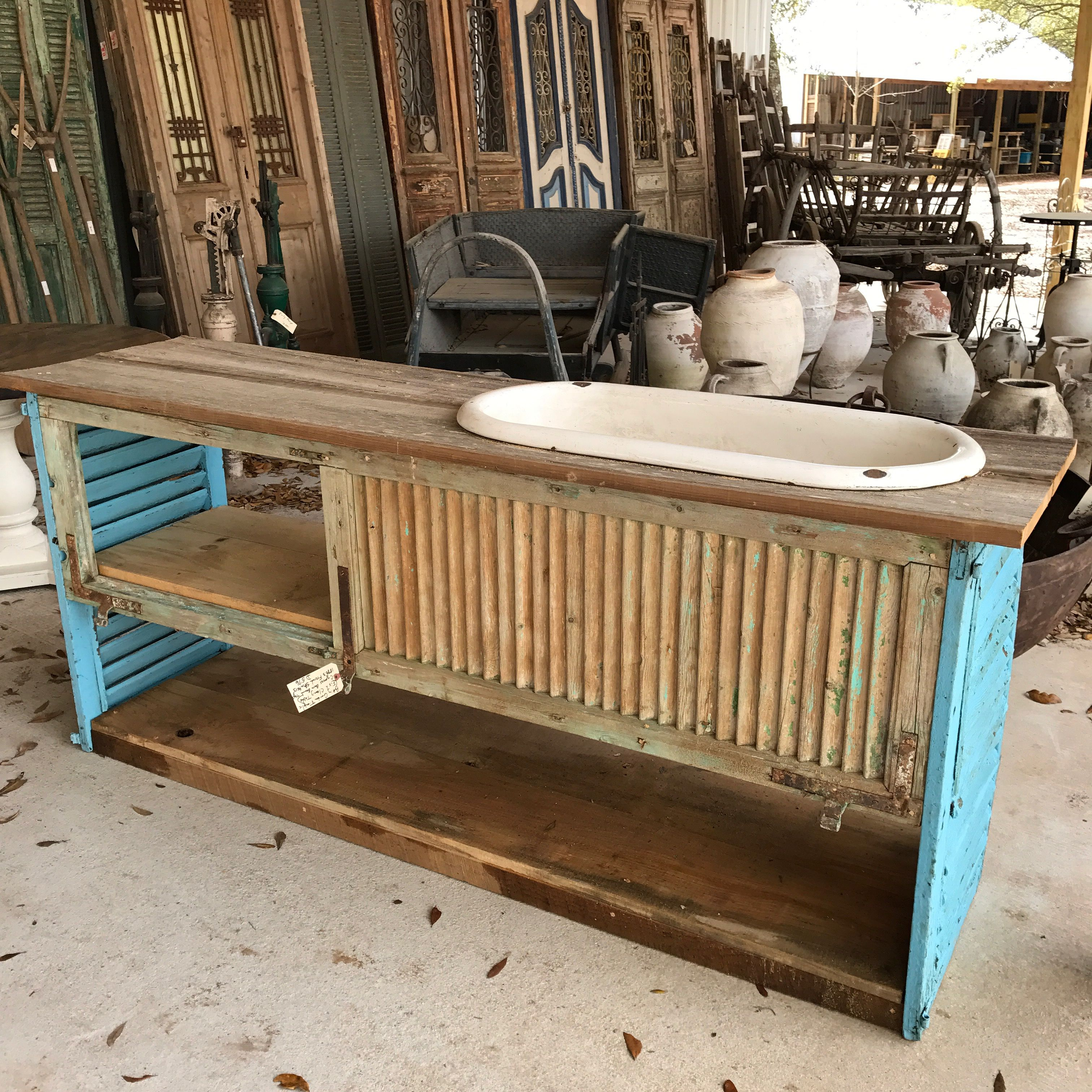 Potting bench for spring. Created from antique French shutters and ...