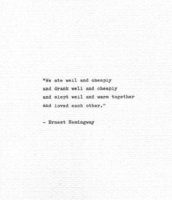 Ernest Hemingway Romantic Print 'And loved each ot