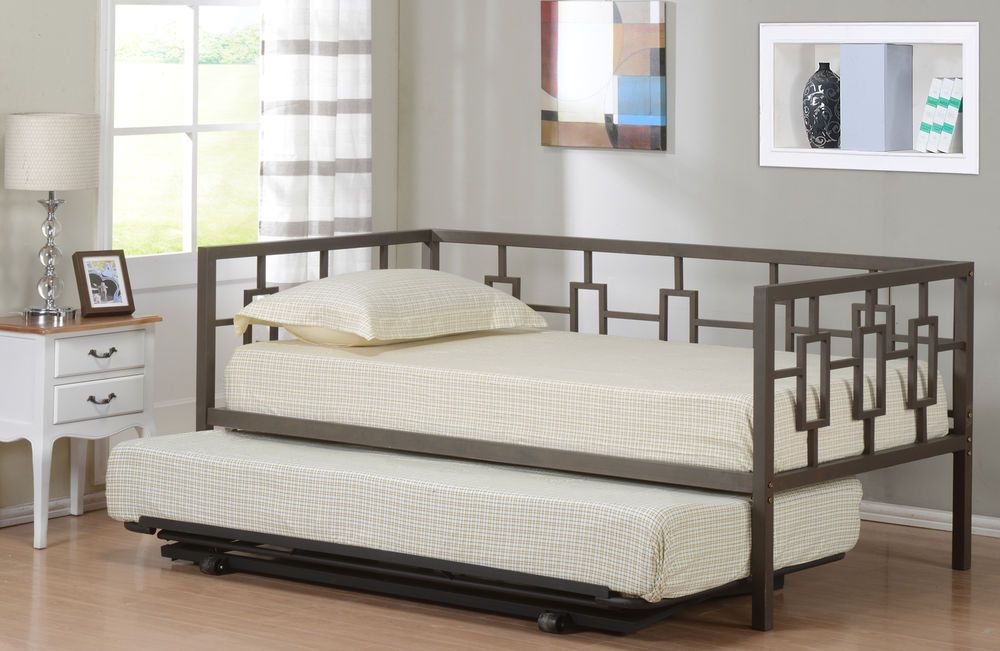 Brown Metal Twin Size Miami Day Bed Daybed Frame With Pop Up