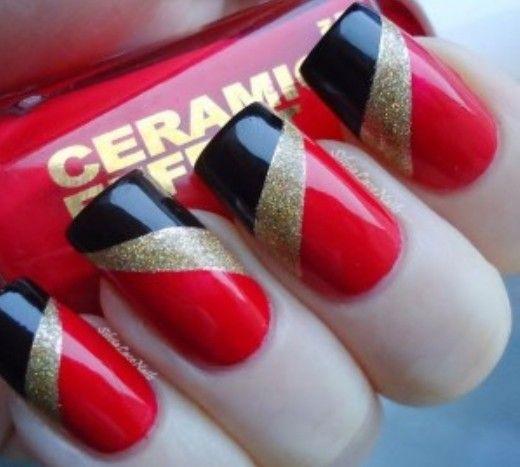 Черно-красный маникюр - 39 фото модного красно-черного ...