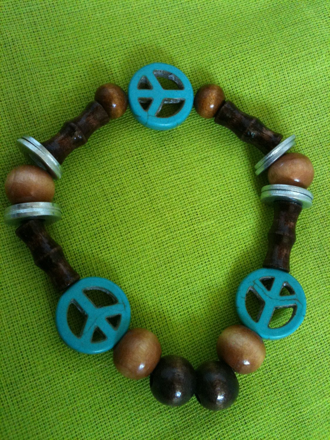 Washer Peace Sign And Wood Beaded Stretch Bracelet By Projectsbygng On Etsy Wood Beads Beaded Stretch Bracelet Peace Sign