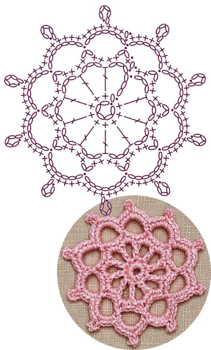 No.3 Rose-window Medallion Lace Crochet Motifs / 로즈 창무늬 모티브 ...