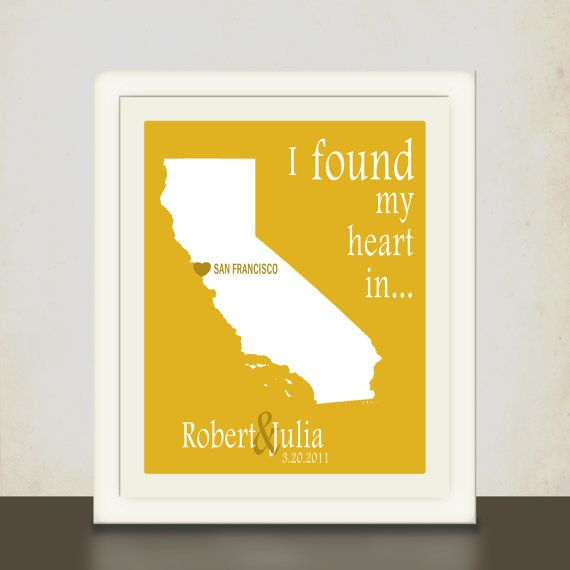 State & City Print // Personalized Anniversary Gift // Wall Art ...