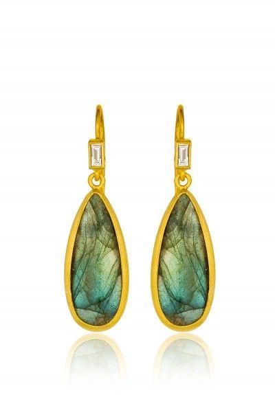 Lika Behar Diamond & Labradorite Pear Drop Earrings
