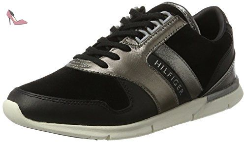 Tommy Hilfiger S1285kye 1c1, Sneaker Bas Cou Femme, Noir
