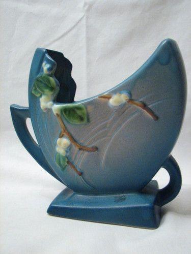 Roseville Art Pottery Blue Snowberry Vase Ifh 6 Ebay Roseville