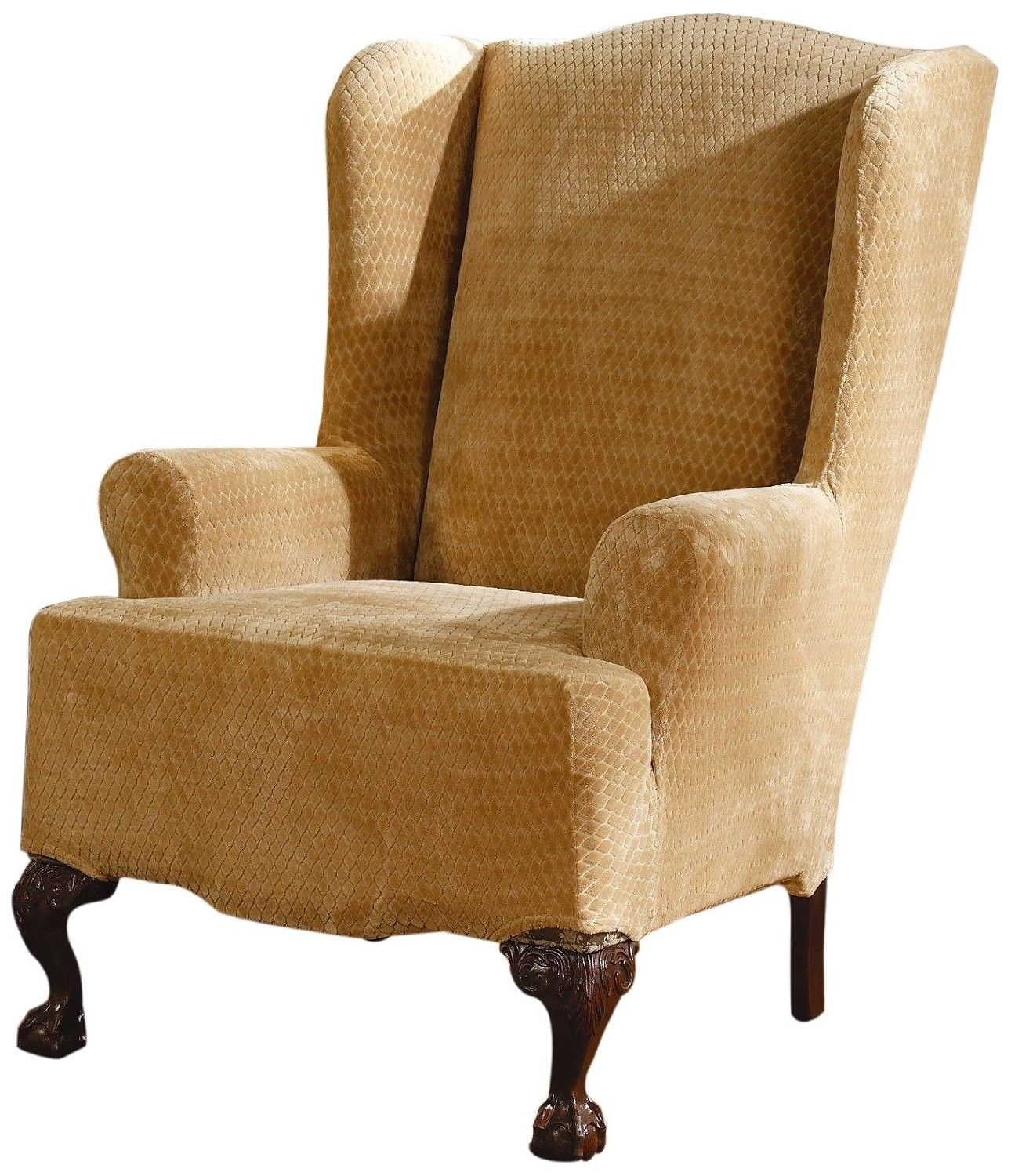 Furniture custom wingback chair slipcover with fabric