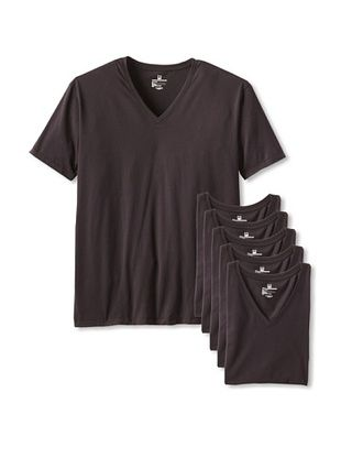 55% OFF Rated M Men's Elementary V-Neck Tee - 6 Pack (Black)