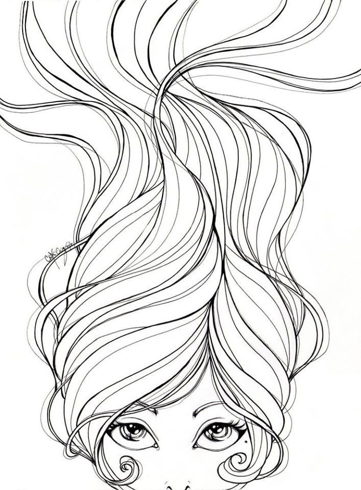 Line Art Hair : Cabelo para colorir bonecas e animes mangás pinterest