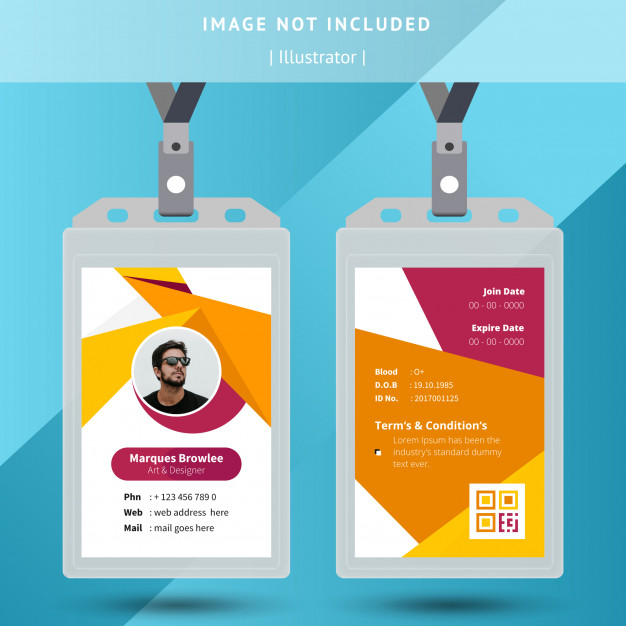 Yellow Office Id Card Template Id Card Template Identity Card Design Free Printable Business Cards