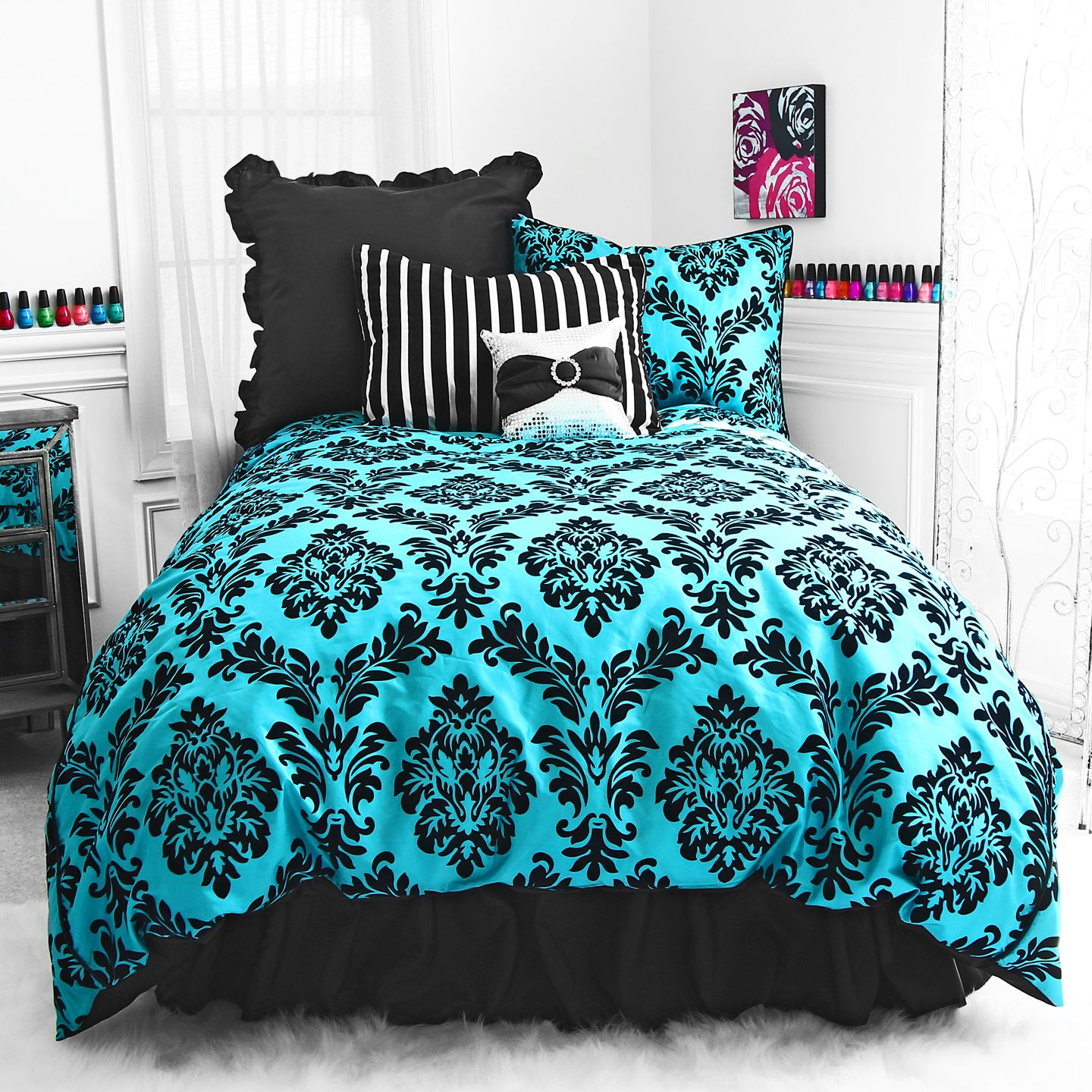 Fashion For Your Room Black Flocked Damask Pattern, Satin Piping