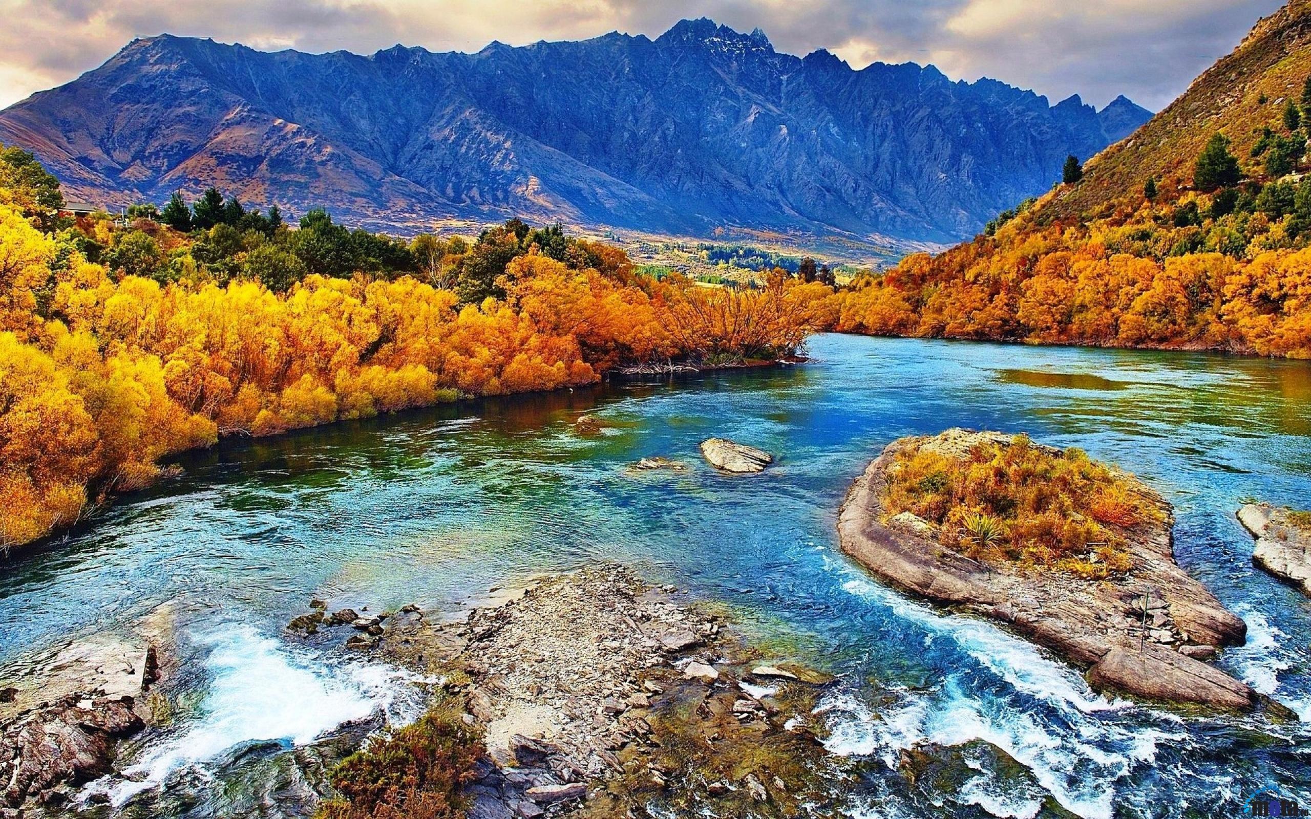 обои на рабочий стол осень река горы