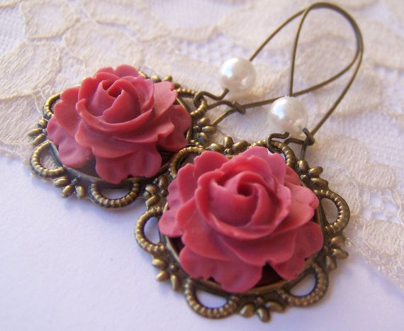 Antiqued Rose Earrings victorian Vintage Style by SSSJ on Etsy, $10.00