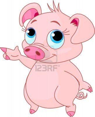 Schattige baby biggen wijzen (tonen, presentatie)  Stockfoto