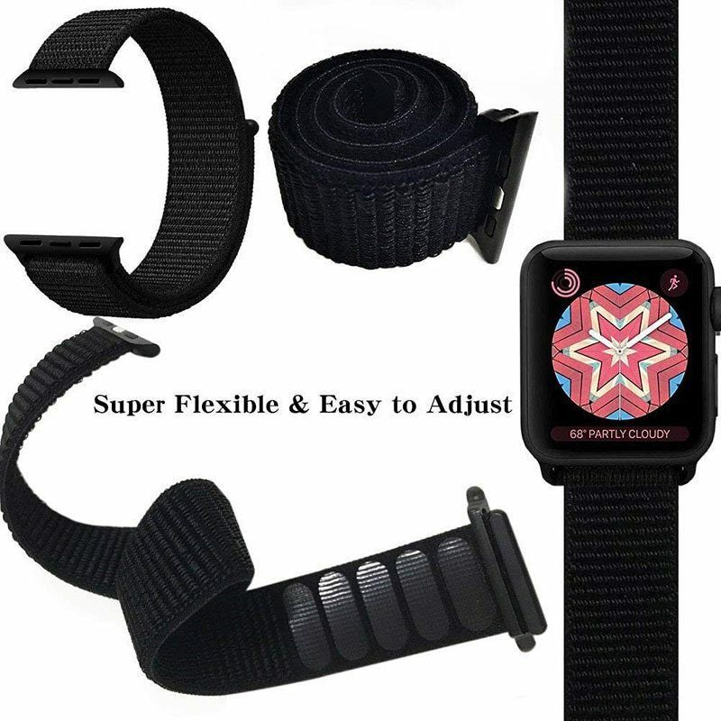 2788642a4 Apple Watch Series 1 2 3 4 (38 40 42 44mm) Nylon Wrist Band Soft Breathable
