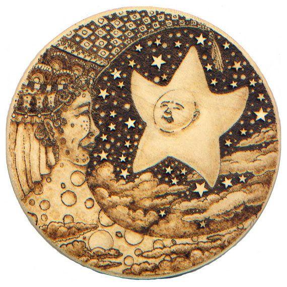 Original Art Wood Burned Fantasy Moon Woman Night Sky Clouds Star Child Celestial Art Moon Art Wood Burning Art