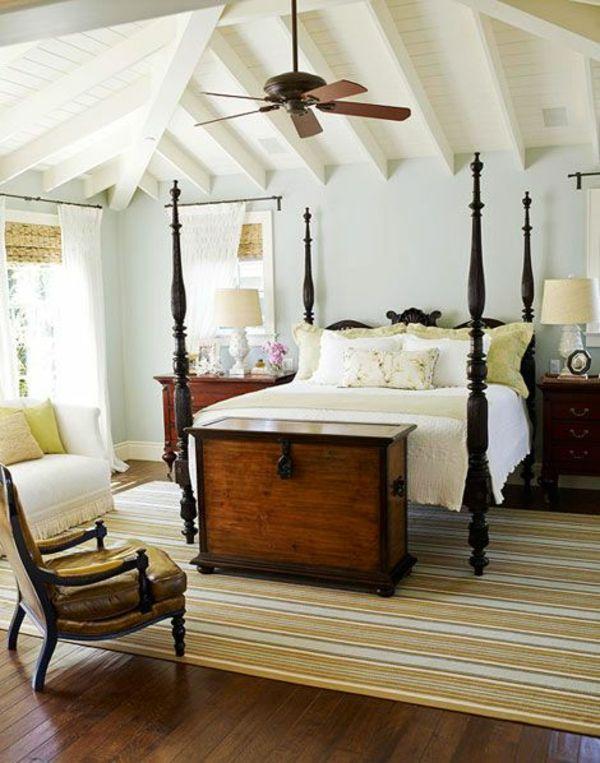Kolonialstil Möbel Schlafzimmer Ideen Holzboden Teppich - Schlafzimmer im kolonialstil