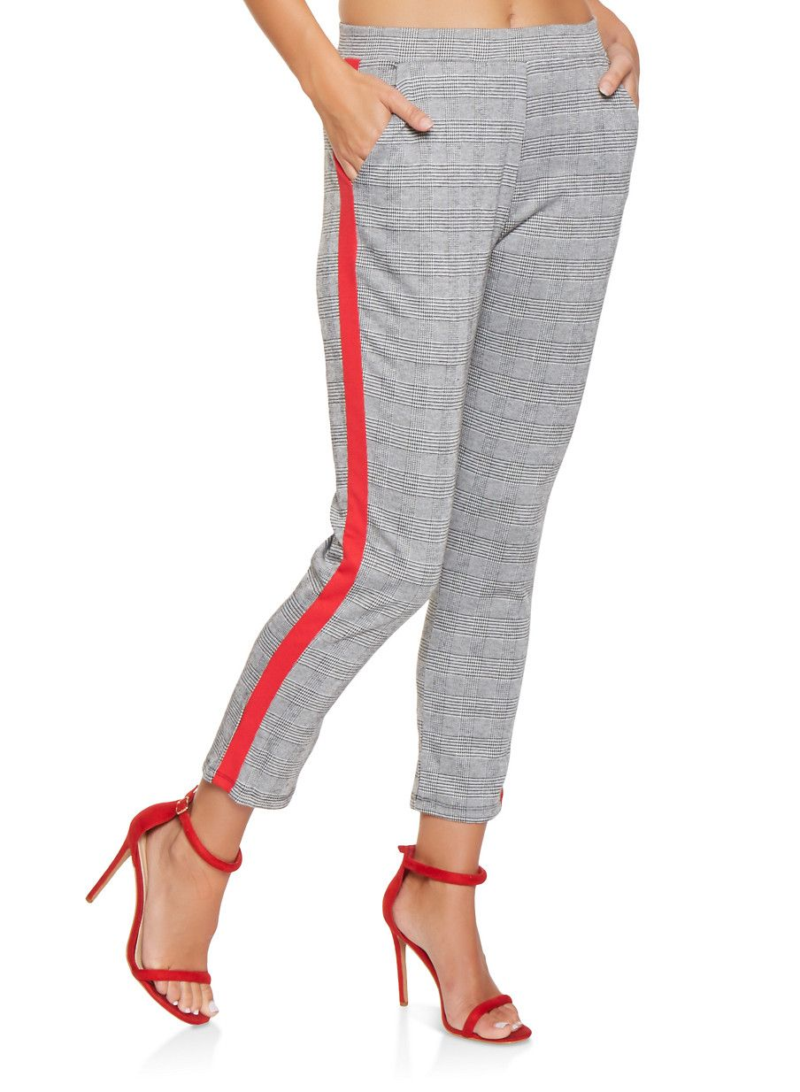 e4d62712 Plaid Side Stripe Pants - RED - Size L   looking gooood!!   Pants ...