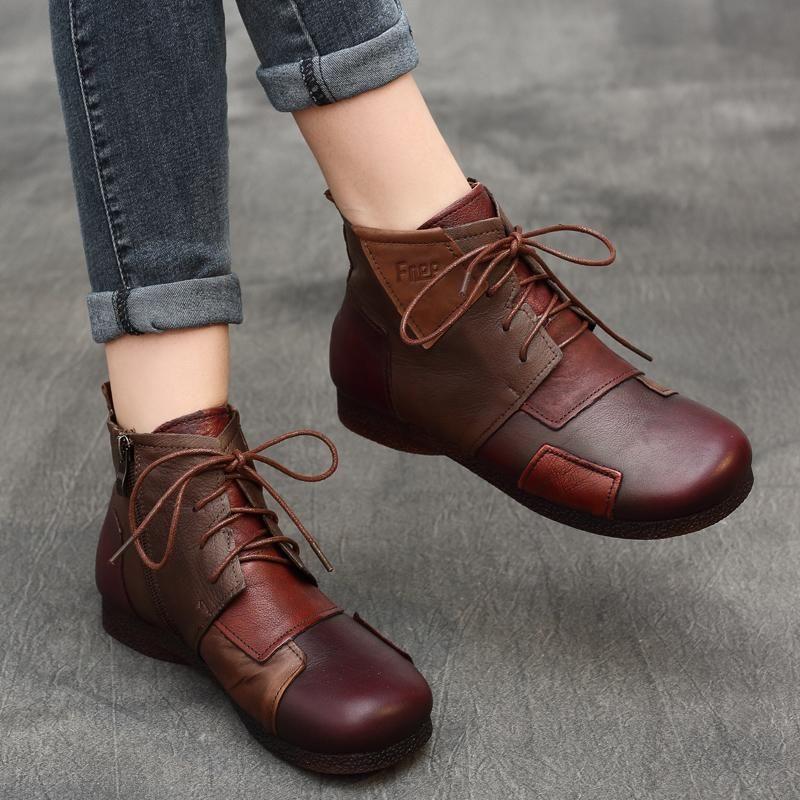 Ethnic Style Retro Leather Stitching  Boots #shoeboots