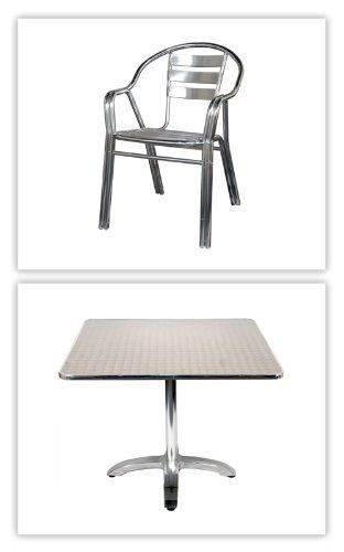 Set Of 20 All Aluminum Patio Chairs 8 Stainless Steel Tables With