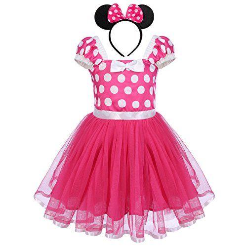 379ddae37 IWEMEK Toddler Girl Princess Polka Dots Christmas Birthday Costume Bowknot  Ballet Leotard Tutu Dress Up+3D Mouse Ear Headband Best Halloween Costumes  & ...