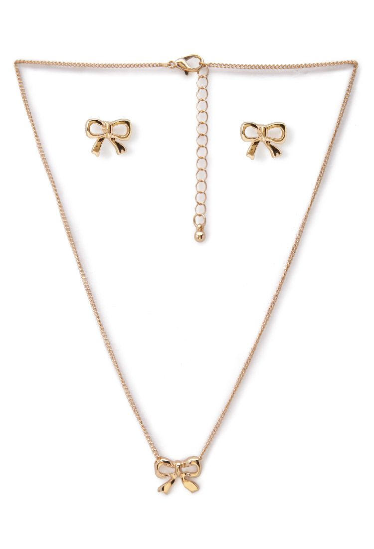 bow earrings and necklace