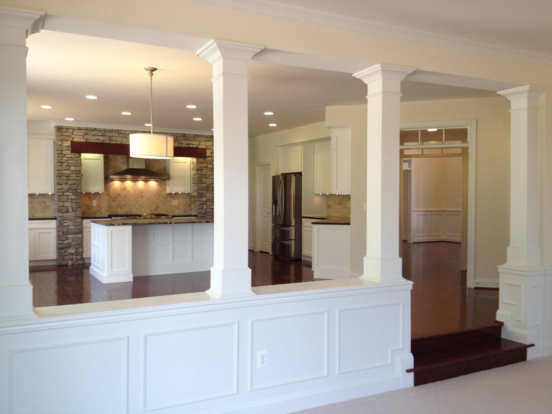 Affordable Half Wall With Column And Basement Columns Design And Half Wall Ideas Sunken Living Room Living Room Remodel Half Wall Room Divider