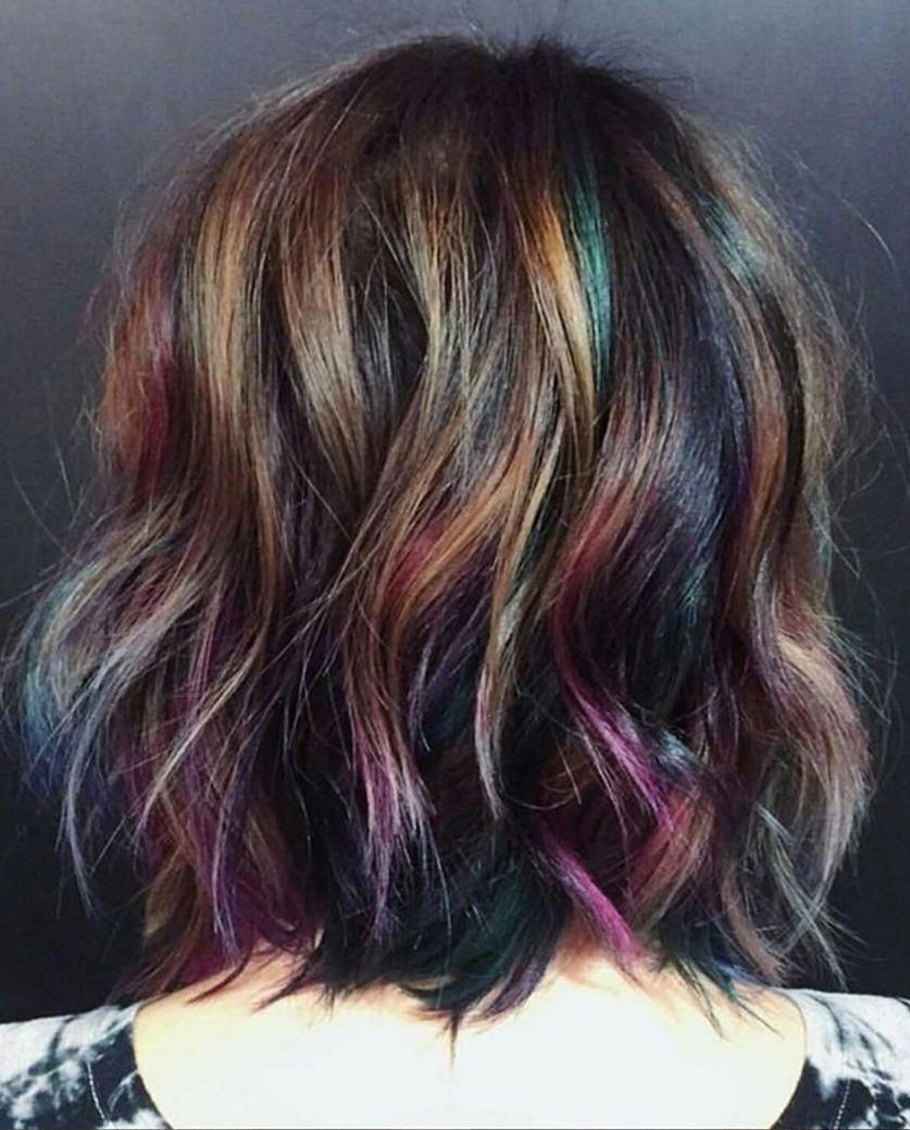 28 Crazy Fun Hair Color Ideas For Brunettes That Really Rock Your Hair Latest Hair Colors Shorthaircol In 2020 Colored Hair Tips Brunette Hair Color Hair Highlights
