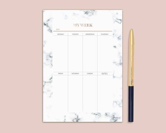 Marble And Rose Gold Planner Printable Weekly Planner A4 A5 Letter Size Planner Inserts Instant Do Marble Planner Weekly Planner Printable Printable Planner