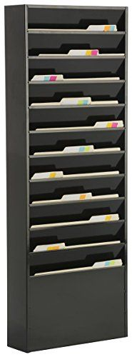Displays2go File Folder Wall Rack with 11 Tiered Pockets Office Filing Rack Black Steel JMFF11BLK >>> Want to know more, click on the image.